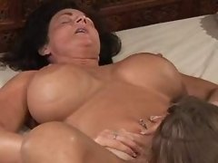 Chick licks pussy of mature... lesbian porn